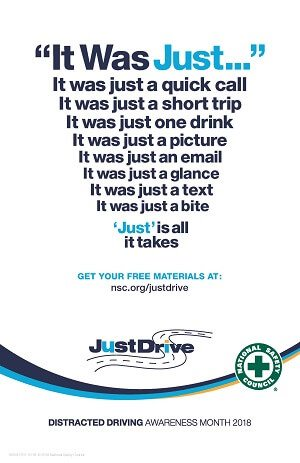 It Was Just...distracted driving poster