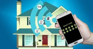 image representing smart home technology controlled by cell phone